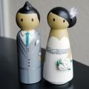 Custom Wood Bride and Groom Pegs