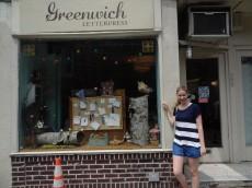 Amelia outside Greenwich Letterpress in New York