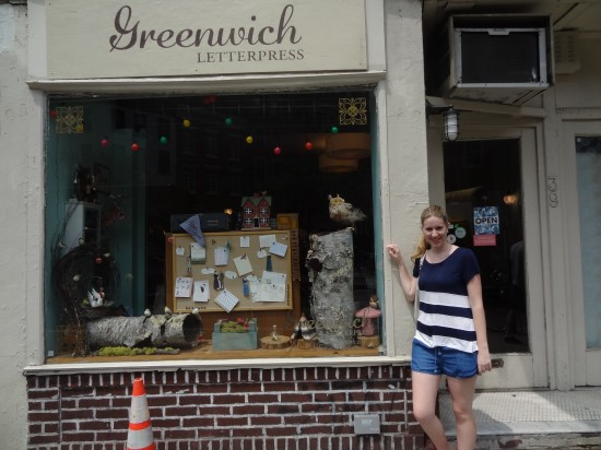 Amelia outside Greenwich Letterpress in New York