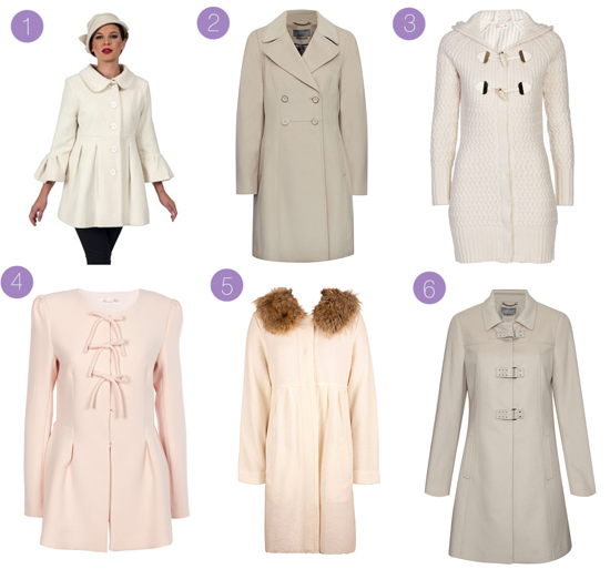 cream winter coats for weddings