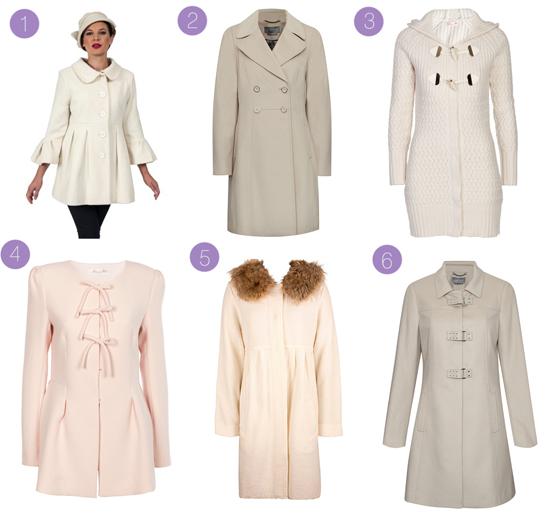 cream winter coats for weddings