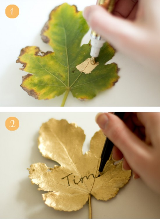 Gilded leaf place cards tutorial 550x752 Gilded Leaf DIY Wedding Place Cards