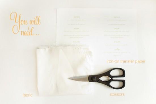 Peach sage fabric menu materials 550x366 DIY Fabric Wedding Menu Tutorial
