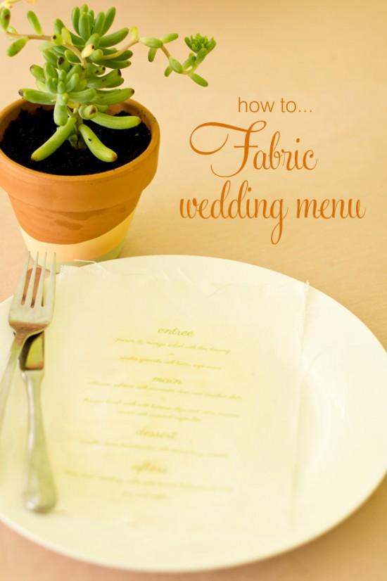 Peach sage fabric menu title 550x826 DIY Fabric Wedding Menu Tutorial