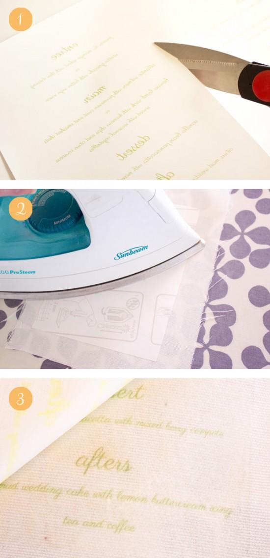 Peach sage fabric menu tutorial 550x1136 DIY Fabric Wedding Menu Tutorial