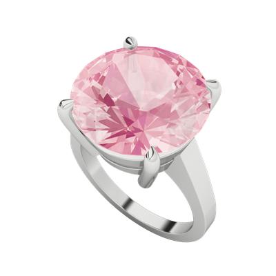 round brilliant cut rose quartz silver ring