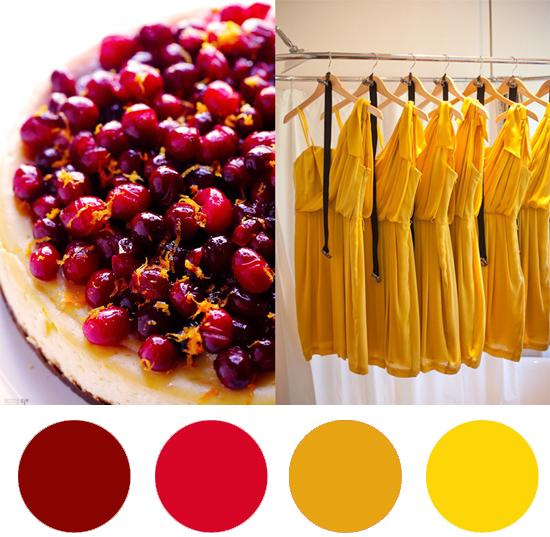 cranberry and saffron colour palette