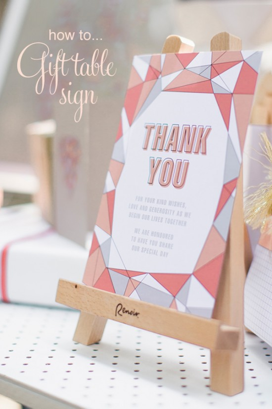 Geometric gift thank you sign