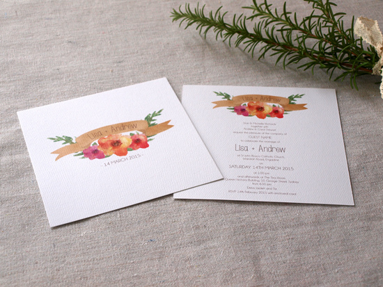 colourful wedding invitations001 Colourful Wedding Invitations From Alannah Rose Stationery
