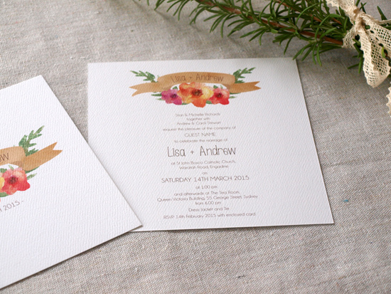 colourful wedding invitations002 Colourful Wedding Invitations From Alannah Rose Stationery