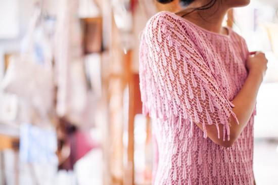 Shoulder detail of a pink 20s vintage bridesmaids dress from Dolly Up Vintage Emporium