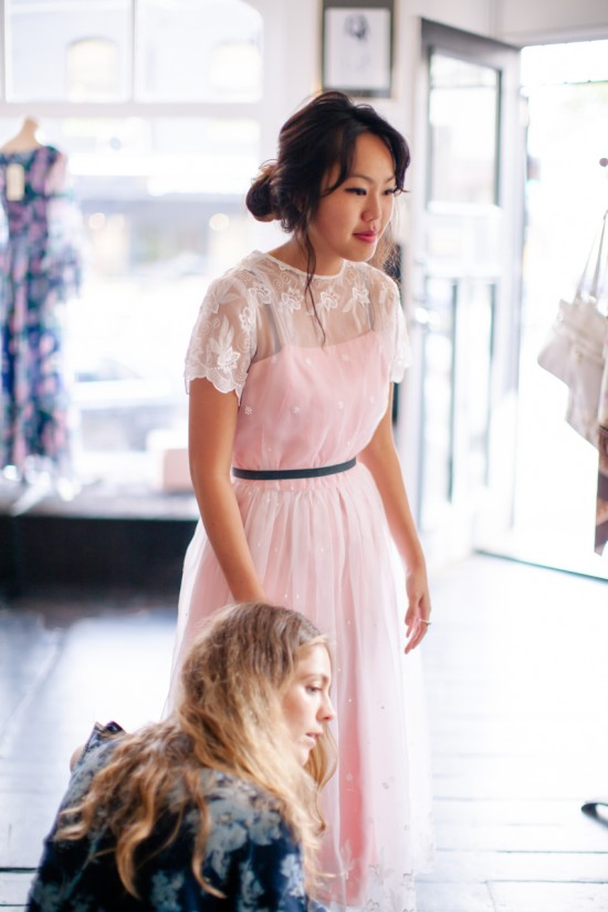 Valentino like bridesmaids dress for a vintage wedding at Dolly Up Vintage Emporium with Erin Hutchings playing with the length
