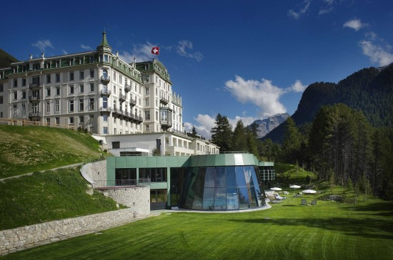 Kronenhof back with spa in summer copy 550x365 Grand Hotel Kronenhof Swiss Honeymoons