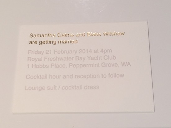 Modern wedding invitation letterpress 550x412 Samantha and Blakes Modern Wedding By The River