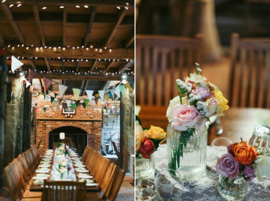 barn wedding decor 550x410 Leea and Roberts Vintage Style Barn Wedding