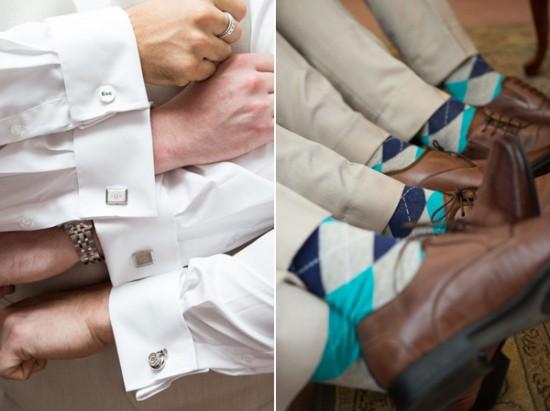 cufflinks socks groom 550x411 Sean and Katherines Vintage Wedding