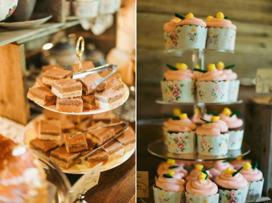 dessert buffet 550x410 Leea and Roberts Vintage Style Barn Wedding
