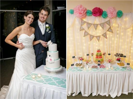 dessert table1 550x410 Josh & Kassis Aqua Blue Wedding In The Glasshouse