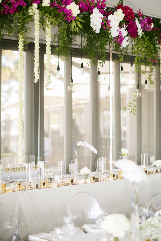 hanging floral installation Samantha and Blakes Modern Wedding By The River