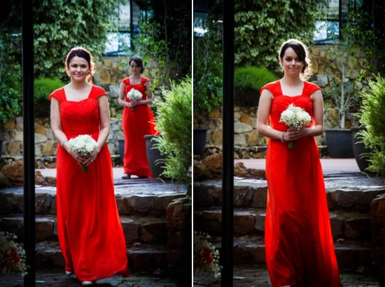 red bridesmaid dress 550x411 Almora & Leigh's Rustic Winter Wedding