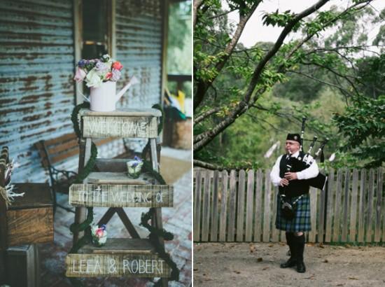 wedding bagpipes 550x410 Leea and Roberts Vintage Style Barn Wedding