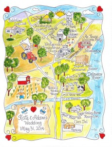 watercolour wedding map