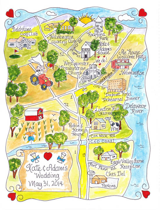 watercolour wedding map Watercolour Wedding Maps From Penmagic