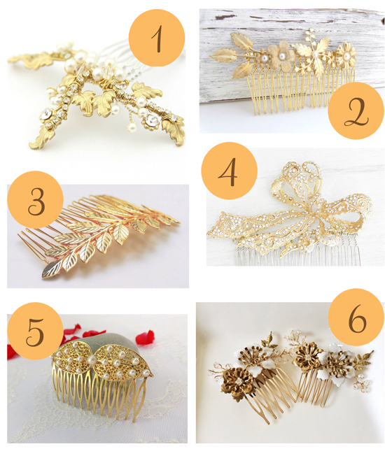 Gold Hair Combs1 Etsy Roundup Gold Hair Combs