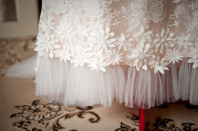 The pleated tulle of my dress