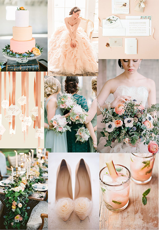 Peach and Apricot Party Peach & Forest Green Party