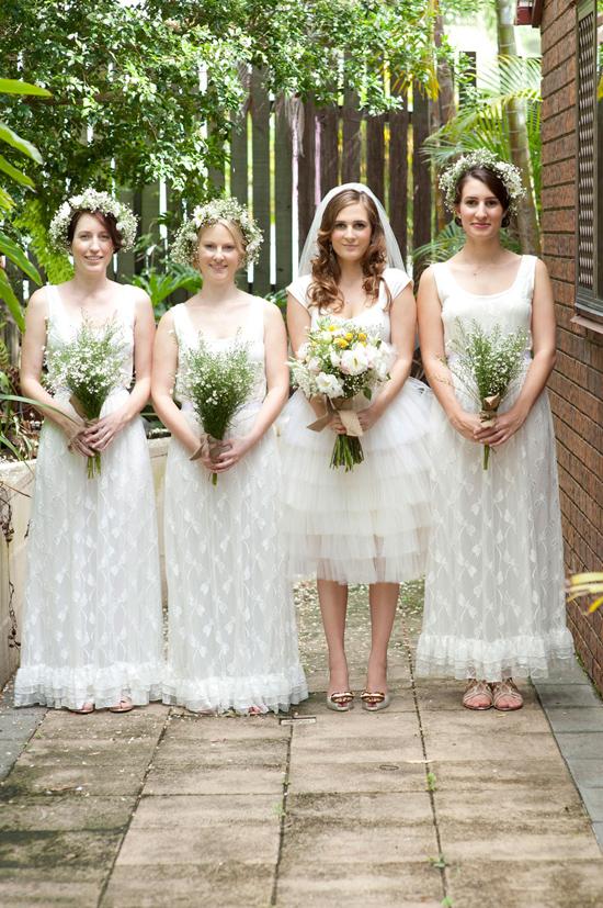 romantic garden party wedding008 Bridesmaids In White