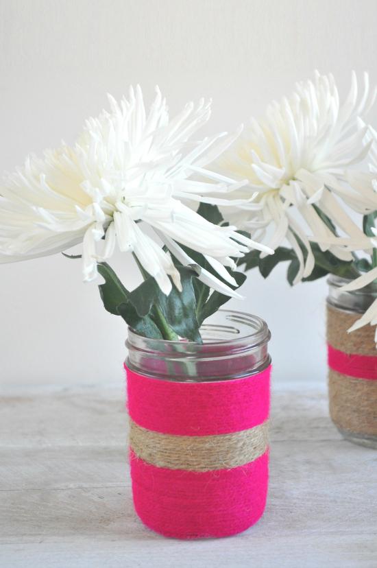 twine vases1 DIY Twine Wrapped Jars