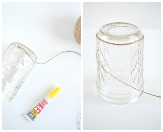 twine vases2 DIY Twine Wrapped Jars