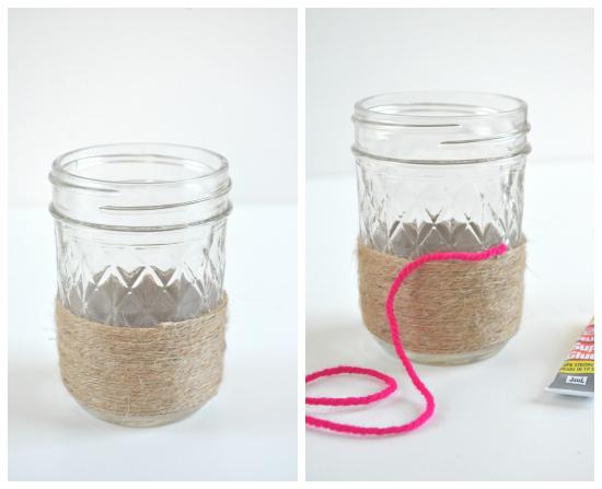 twine vases3 DIY Twine Wrapped Jars