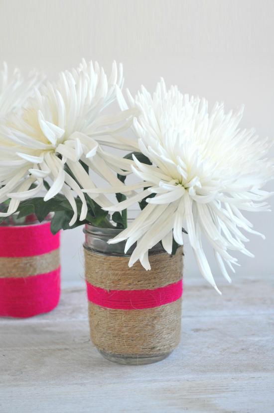 twine vases5 DIY Twine Wrapped Jars