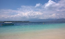 The view from Gili Trawangan across to Gili Meno and Lombok.