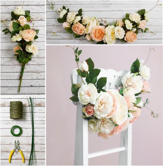 Polka Dot Bride Collage 2 550x559 DIY Wedding Decorations – Floral Garland Chair