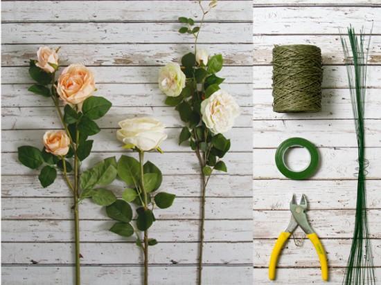 Polka Dot Bride Ingredients 550x412 DIY Wedding Decorations – Floral Garland Chair