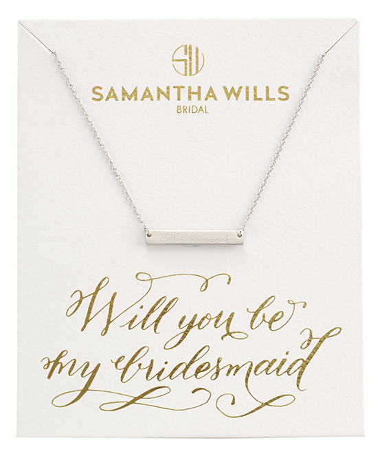 will you be my bridesmaid card and necklace