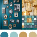 Christmas colour palette teal and gold