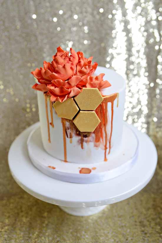polka dot bride birthday cake
