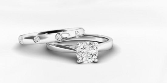 A Matching Platinum Wedding Ring and engagement Ring