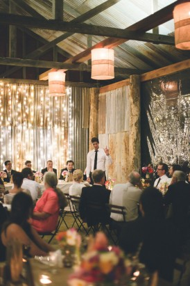 barn wedding with fairy lights