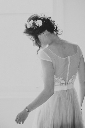 black and white photo of bride in dress