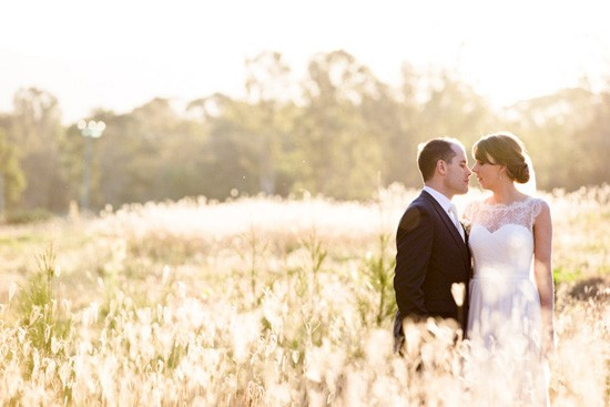 bride and groom at sunset hunter valley