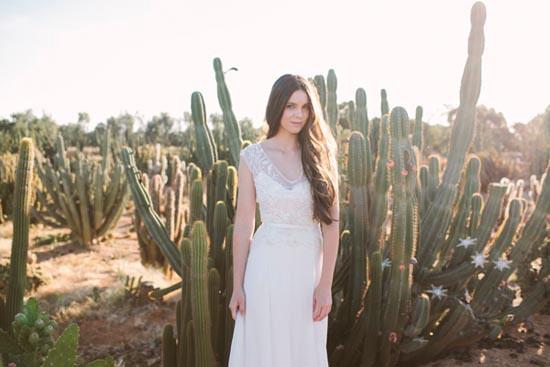 bride in cactus garden