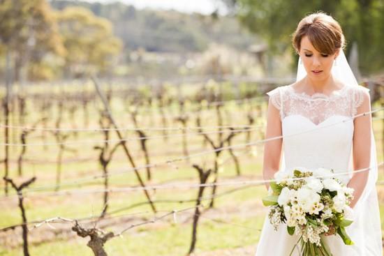 bride in vienyard