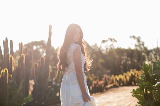 bride walking in cactus