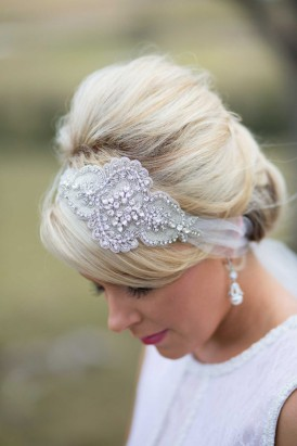 bride with crystal and tulle hairband
