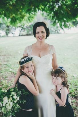 bride with flowergirls